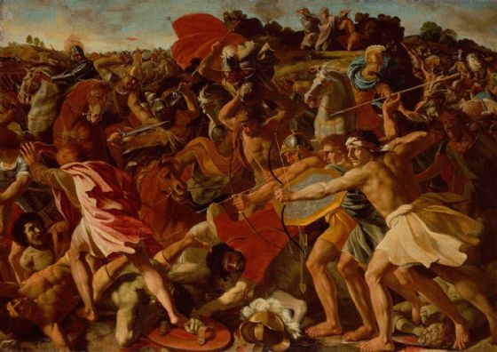Poussin, Nicolas: The Victory of Joshua over the Amalekites. Fine Art Print/Poster. Sizes: A1/A2/A3/A4 (001500)